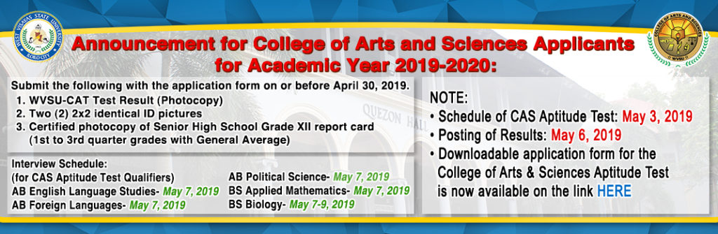 Announcement for College of Arts and Sciences Applicants for Academic Year 2019-2020