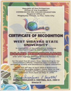CHED awards WVSU for its Exemplary Performance