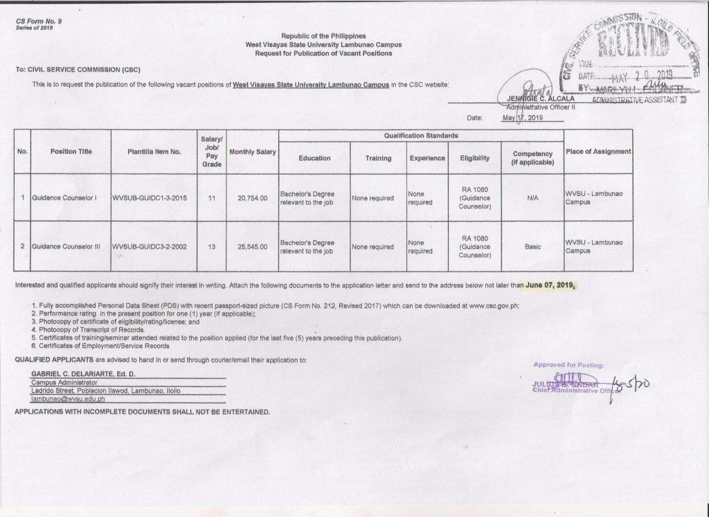 Guidance Councelor I, Guidance Councelor II- Lambunao Campus